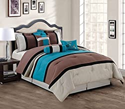 11 Piece King TealCoffeeBeige Bed in a Bag w600TC Sheet Set