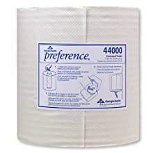"Georgia-Pacific Preference 44000 White 2-Ply Centerpull Perforated Paper Wiper, 12"" Length x 8.25"" Width (Case of 6 Rolls, 520 per Roll)"