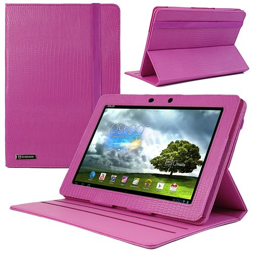 Evecase OhMyLeather Rotate Leather Case with Stand for Asus MeMo pad Smart ME301T 10.1-inch Android Jelly Bean Tablet - Hot Pink
