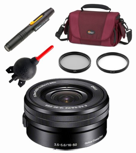 Sony Selp1650 16-50Mm Power Zoom Lens + Sony Hood + Lowepro Bag + Filter Kit + Lens Pen Cleaning System + Giotto'S Blower + Cleaning Cloth