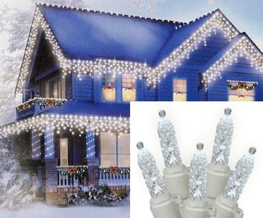 Set of 70 Pure White LED M5 Icicle Christmas