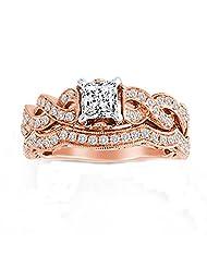 14k Rose Gold Over .925 Silver 1.25 CT BRIDAL SET Princess Cut Engagement Ring