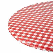 Kwik-Cover 60-RW 60'' Round Kwik-Cover- Red Gingham Fitted Table Cover (4 Bags of 25)