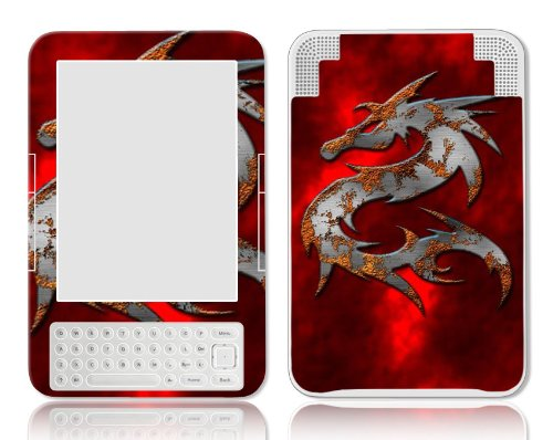 Bundle Monster Amazon Kindle 3 Ebook Vinyl Skin Cover Art Decal Sticker Protector Accessories - Fit 3rd Generation - Red Dragon
