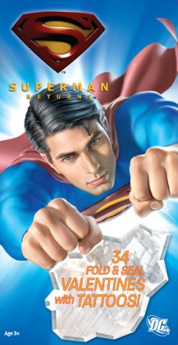 Superman 32 Fold & Seal Valentine Cards with Seals