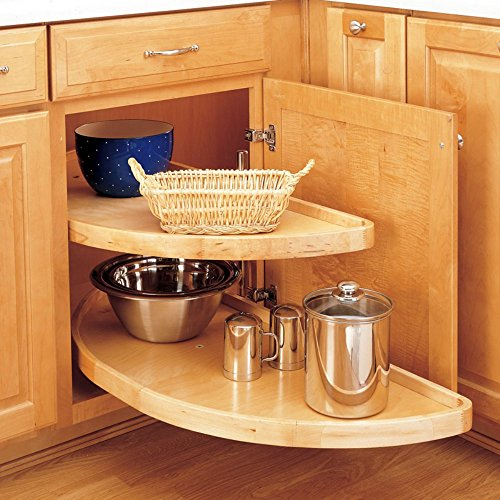 Rev-a-Shelf Rev-a-Shelf Wood Half Moon 2 Shelf Lazy Susan, Wood, 32 in.
