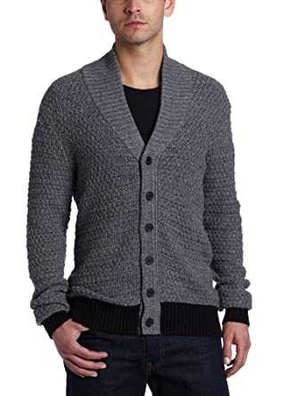 Kenneth Cole New York Men's Marled Shawl Cardigan, Heathered Ash, X-Large