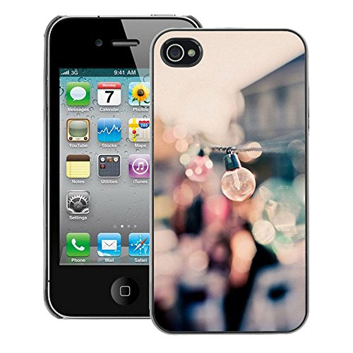 A-type Colorful Printed Hard Protective Back Case Cover Shell Skin for iPhone 4 / 4S (Party Bulbs Docks Port Summer Focus Blur)