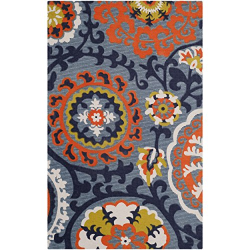Safavieh Cedar Brook Collection CDR130A Handmade Blue and Orange Cotton Area Rug, 2 feet 3 inches by 3 feet 9 inches (2'3