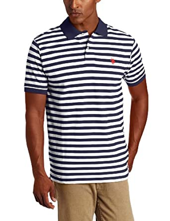 U.S. Polo Assn. Men's Striped Polo With Small Pony, Classic Navy, X-Large