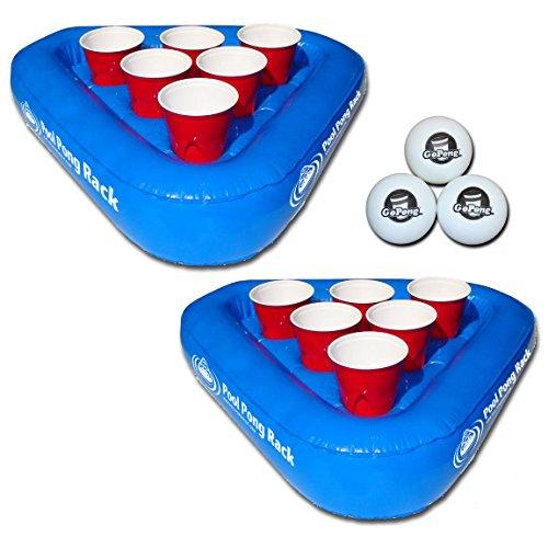 GoPong Pool Pong Rack Floating Beer Pong Set, Includes 2 Rafts and 3 Pong Balls