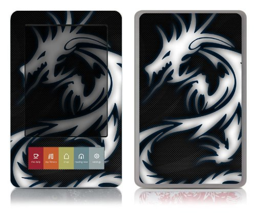 Bundle Monster Barnes & Noble Nook (Fit Nook Black & White Model Only) Ereader Vinyl Skin Cover Art Decal Sticker Protector Accessories - Blue Dragon