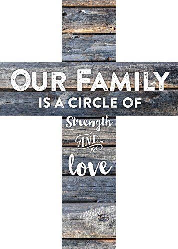 Our Family is a Circle of Strength and Love Rustic 7 x 5 Wood Wall Art Cross Plaque