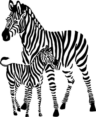 Top Selling Decals - Prices Reduced : 2 Zebras Animal African Safari Wall Sticker Size : 21 Inches X 21 Inches - 22 Colors Available (African Safari Pictures compare prices)