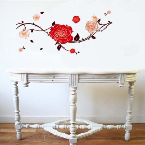 PeelCo Large Red Contemporary Rose Floral Wall Decal Sticker for Home - 1