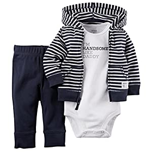 Newborn & Infant Boy's Bodysuit  Hoodie Jacket & Pants - Striped