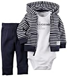 Carter's Baby Boys' 3 Piece Cardigan Set (Baby) – Navy Stripe – 3M