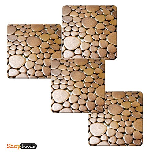 Brown Tiles Set Of Four Coster by Shopkeeda