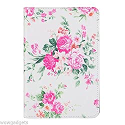 Beautiful Unique Design Leather Flip Case Cover with card slot for iPad Mini 4 - Blooming Flowers