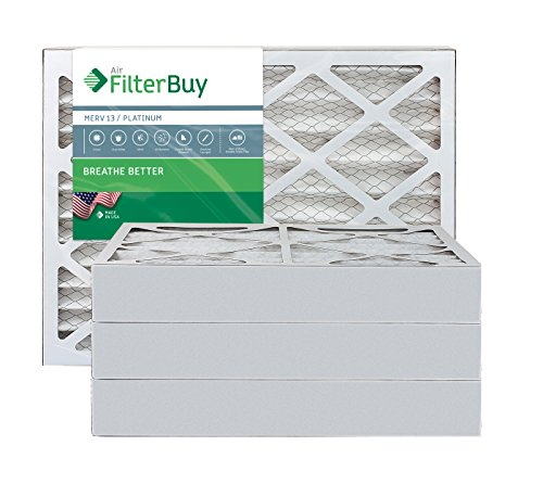 AFB Platinum MERV 13 12x20x4 Pleated AC Furnace Air Filter. Pack of 4 Filters. 100% produced in the USA.