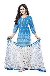 varsha Women's Unstitched Dress Material (White and Blue)