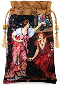 """Baba Studio """"Queen Eleanor and Fair Rosamund"""" drawstring bag. Satin print with pure silk. Taupe."""
