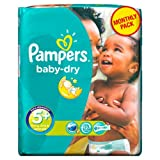 Pampers Baby Dry Size 5+ Junior Plus Monthly Pack--132 Nappies