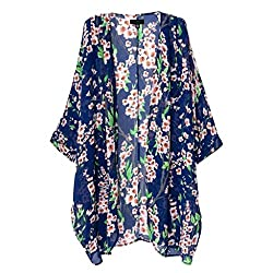 Imported Women Chiffon Floral Loose Blouse Kimono Cardigan Jacket Blouse Tops S