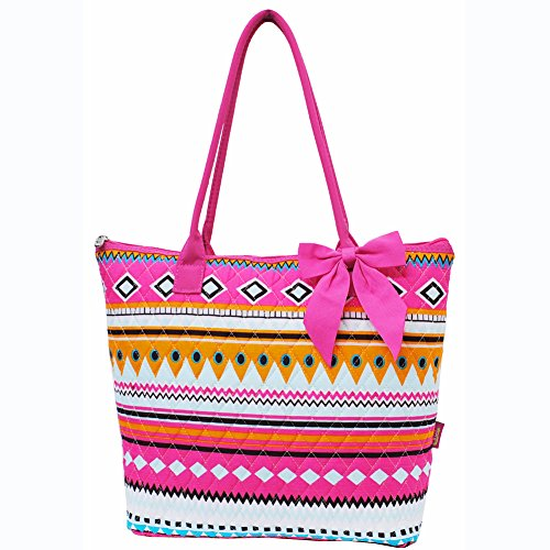Multi Colored Aztec Tribal Hipster Print Large Ribbon Tote Bag (Hotpink) - 1