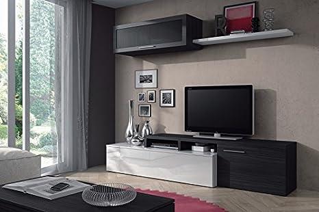 Mueble de Salón color Gris ceniza y Blanco,MOD CHARLES