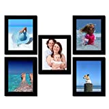 Clixicle Customized 7inx9in Photo Frame Wall Decor Collage Black , Set of 5, **FREE** your photos included