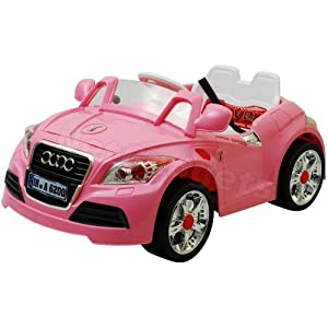 RECHARGEABLE KID'S RIDE ON AUDI STYLE PINK GIRL CAR WITH PARENTAL REMOTE CONTROL+MP3 AUDIO INPUT