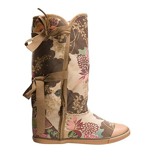 sugar origami fur boot tan asian flora