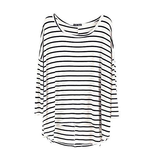 Donna Allentato Casuale Girocollo Manica Lunga Stripes T-Shirt Bianco Taglia Unica