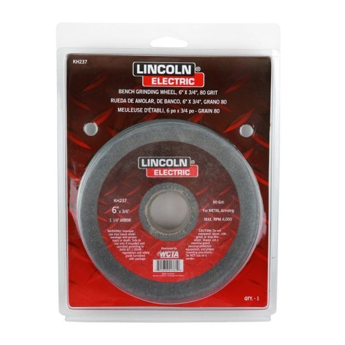 "Lincoln Electric Kh237 Bench Grinding Wheel, Aluminum Oxide, 4000 Rpm, 6"" Diameter, 1-1/4"" Arbor, 80 Grit (Pack Of 3)"
