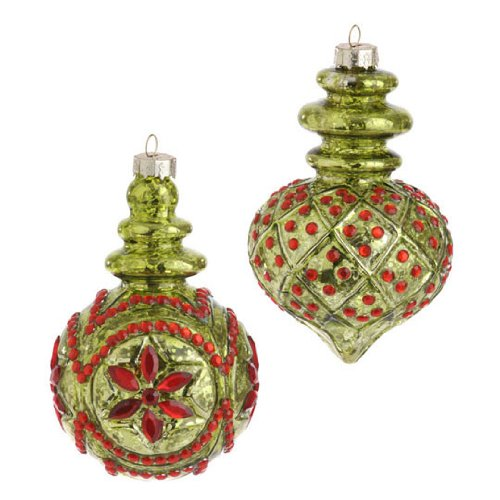 RAZ Imports - Lime Green Mercury Glass Red Beaded Ornaments