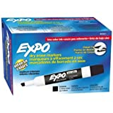 Expo Low Odor Chisel Tip Dry Erase Markers, Black, 12 Pack (80001) Case of 12 Packs