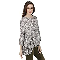 Women's Flowy Gathered High Low Printed Top, Long Sleeves, Trendy/Styish/Smart/Casual Top Wear for Women and Girls, Grey