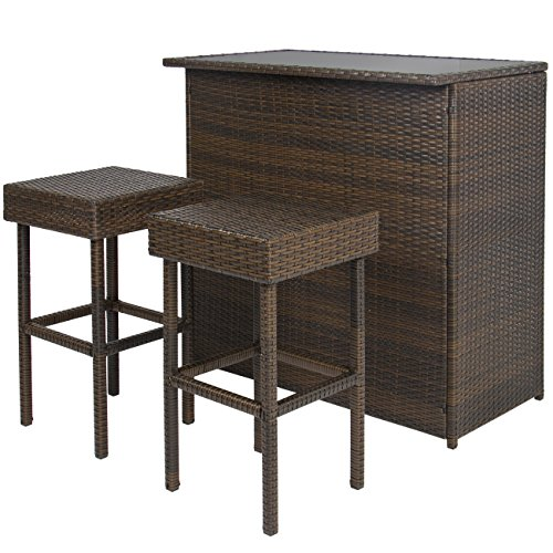 Best Choice Products 3PC Wicker Bar Set Patio Outdoor Backyard Table & 2 Stools Rattan Garden Furniture (Outdoor Tiki Bar compare prices)