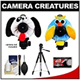 Camera Creatures Dapper Dog and Outrageous Owl Portrait Posing Prop with Tripod + Cleaning Accessory Kit