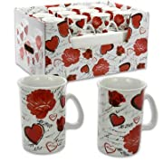 10oz Flower/Heart White Porcelain Mug (Assorted Design)