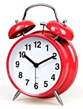 4-inch Retro Double Bell Bedside Non-Ticking Alarm Clock with Backlight - Red