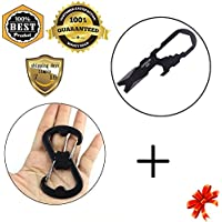 Meanhoo Mini Tool EDC Stainless Steel Pocket Survival Kitchen Portable Hand Tools Stainless Steel Carabiners Buckle...