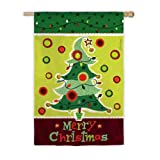 Garden Sized Silk Reflections Flag: Christmas Tree with B