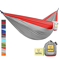 FLASH SALE The Ultimate Single Double Camping Hammocks- The Best Quality Camp Gear For Backpacking Camping Survival Travel- Portable Lightweight Parachute Nylon Ropes and Carabiners Included SO Grey & Red SingleOwl