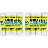 UHU Stic Permanent Clear Application Glue Stick, 0.29 oz, 12 Sticks per Pack (99450), 2 Packs