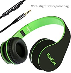 Headphones, BestGot Headphones for Kids Adult with Microphone In-line Volume, Included Transport Waterproof Bag for iPhone 5s/6/6s Plus/6s Plus, iPad/iPod, Android Device MP3/4, black/green