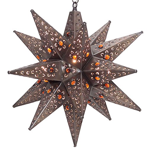 Moravian Star Light, Flower Pierced Tin, Amber Marbles, 20