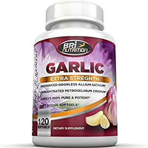 Top Rated Odorless Garlic - 1000mg Pure And Potent Garlic Allium Sativum Supplement (Maximum Strength) - Improve Your Overall Wellness - Made In The USA In A GMP & FDA Approved Facility - 60 Day Supply - 120 Softgels by BRI Nutrition