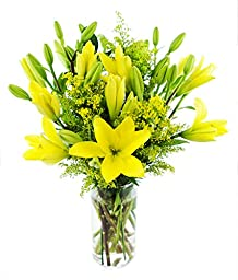 Lemon Drop Bouquet with 8 Yellow Asiatic Lilies and Solidagos for Mother\'s Day, With Vase